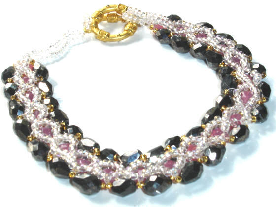 Fifiany & Co. Black and Pink Beaded Pet Collar for Cats and Dogs