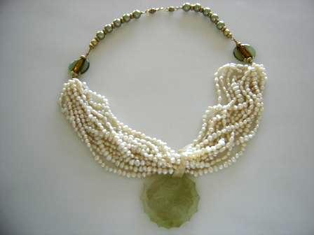FIFIANY TWO Pearl and Jade Necklace
